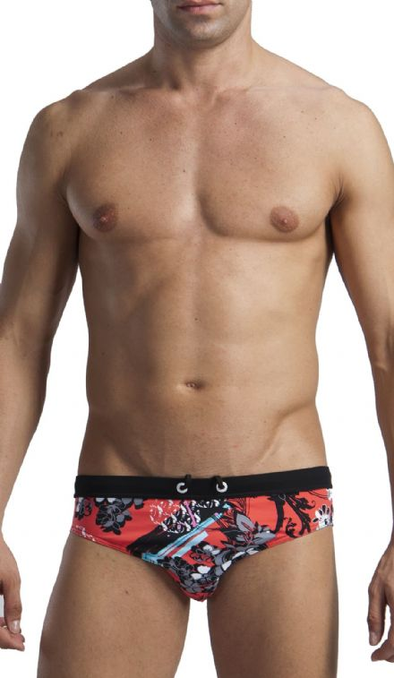 Men's Swimwear Floral Low Rise Brief Trunks Flowered Red 1114s2